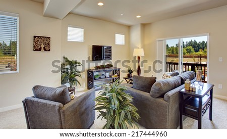 Bright beautiful  living room with walkout deck. Palm trees blend perfectly with brown sofa and chair
