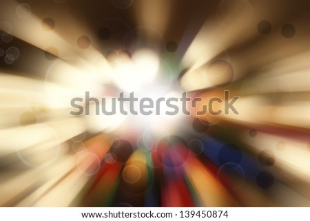 Bright blast of light in space background - stock photo