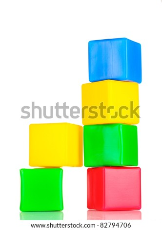 bright blocks isolated on white
