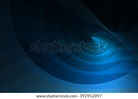 Bright blue abstract curved ripple design on black background