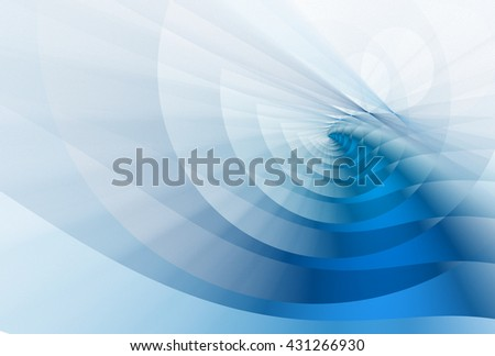 Bright blue abstract curved ripple design on white background  - stock photo