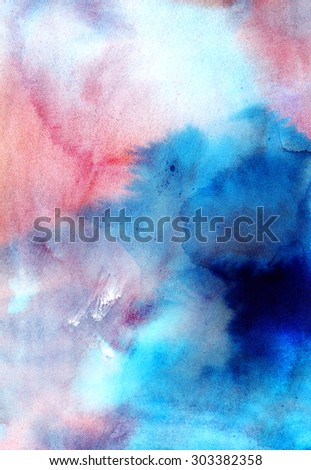 Bright blue and pink watercolor background. Abstract hand-drawn texture for image editing and design - stock photo