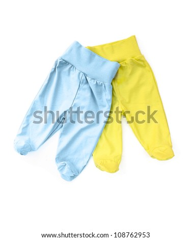 Bright blue and yellow baby trousers isolated on white background
