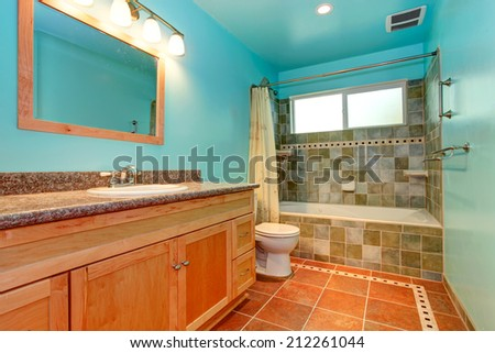 Bright blue bathroom interior with green tile wall trim and orange tile floor
