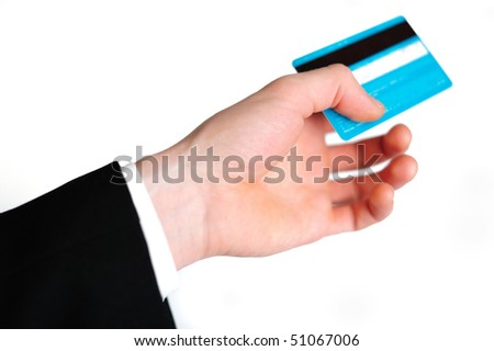 Bright blue credit card in a man's hand - stock photo