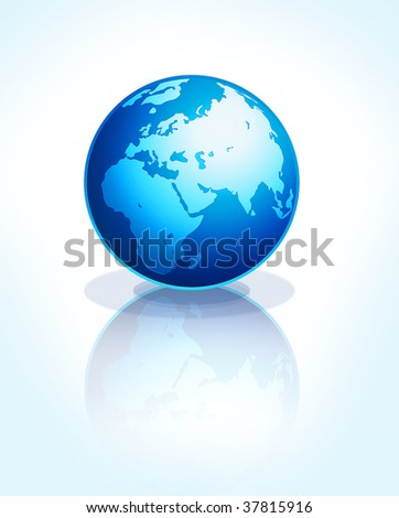 bright blue Earth on white