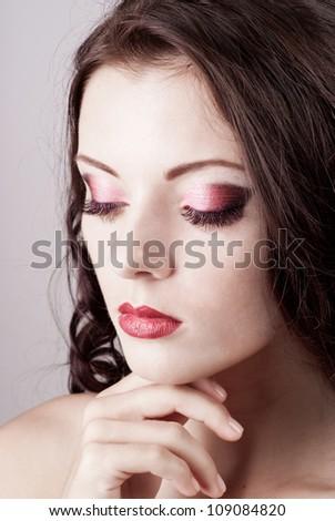 Bright blue eye evening make-up, beautiful woman portrait, Eyeshadows and lip stick - stock photo