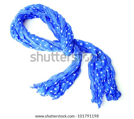 bright blue female scarf isolated on white - stock photo