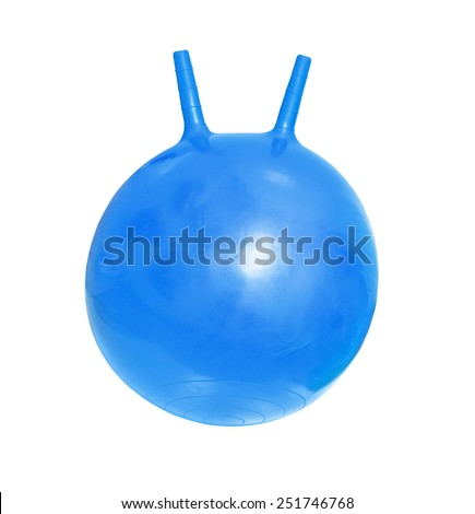 Bright blue fitballs, ball-kangaroo on white background - stock photo