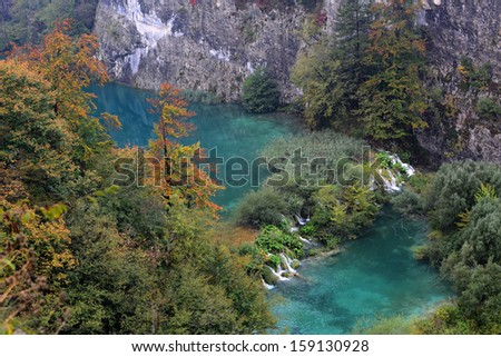 Bright blue lakes in the Plitvice lakes national park in the countryside of Croatia, Europe - stock photo