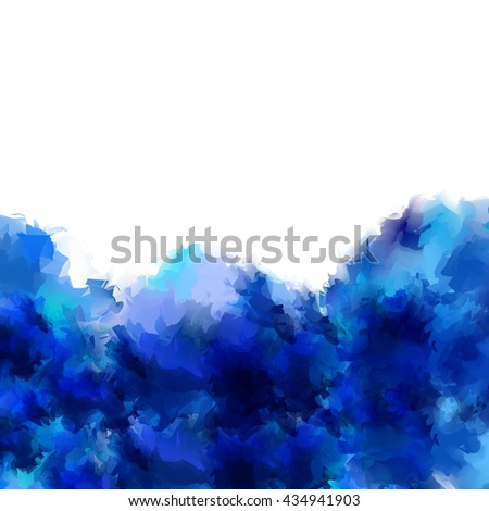 Bright blue like the sea color watercolor blotch isolated on white background with space for text.