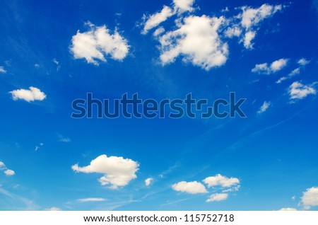 Bright blue sky in summer day - stock photo