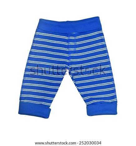 Bright blue striped baby trousers isolated on white  - stock photo