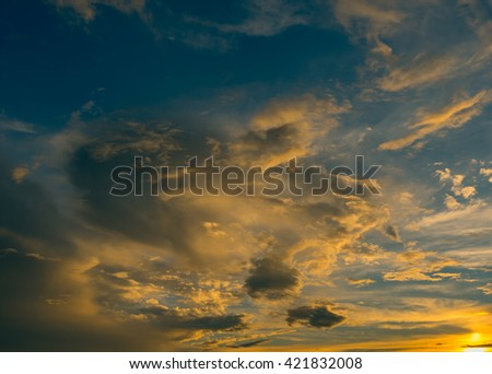 Bright Blue - yellow Color Sun set Sky - stock photo