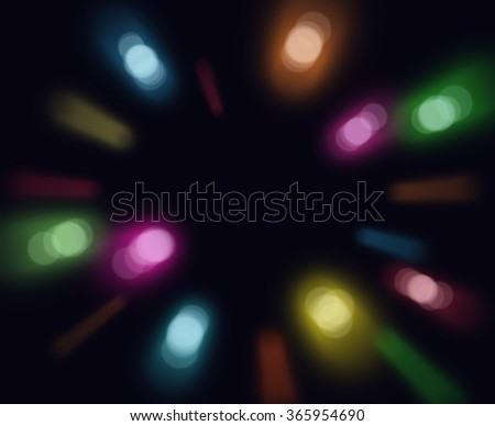 Bright bokeh lights on black background. - stock photo
