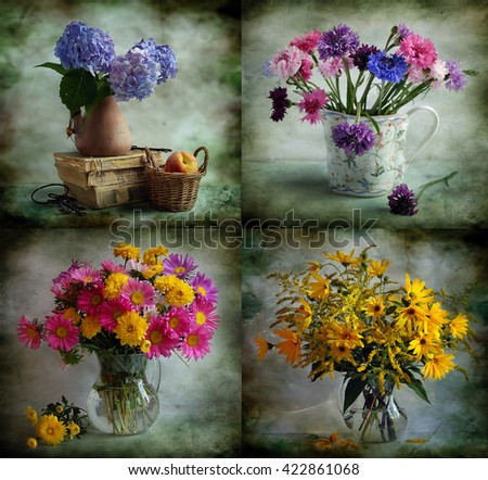 bright bouquets of summer flowers on a green background