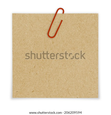 Bright brown paper blank with red paper clip on white backgrounds. - stock photo