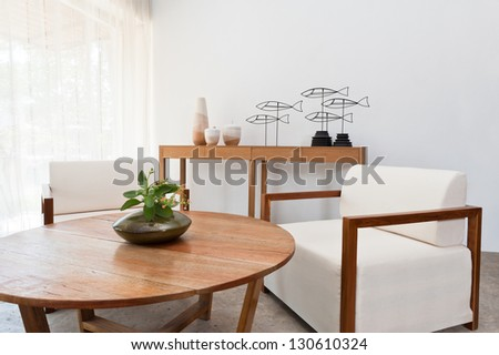 Bright brown white furniture in a living room