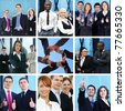 Bright business collage with the team of some people - stock photo