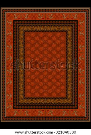 Bright carpet with bird pattern on the border of and roses on a red background by center  - stock photo