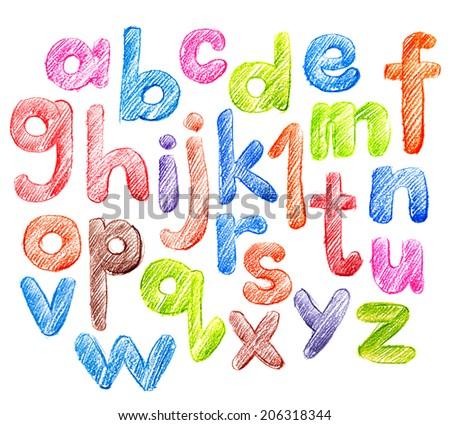 Bright Children's Alphabet in Sketch. Hand Drawing - stock photo