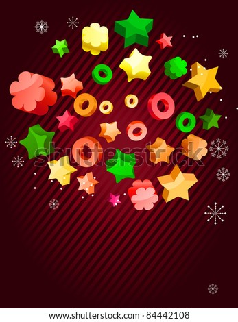 Bright christmas background with stars and circles. Raster version. - stock photo