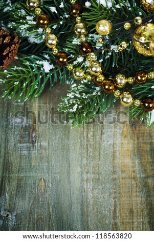 Bright christmas composition on wooden table - stock photo
