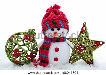 Bright Christmas composition - Snowman with Christmas ball and star