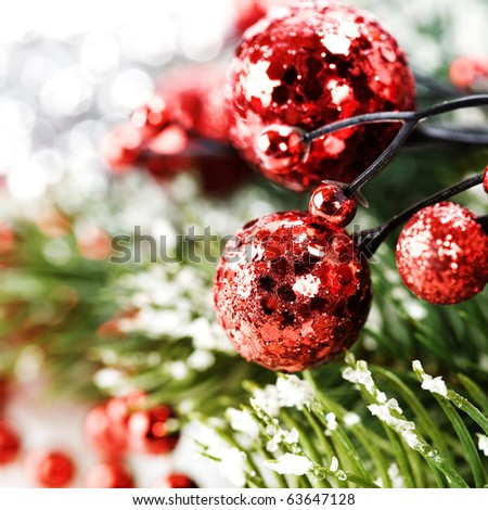 Bright christmas composition with christmas balls - stock photo
