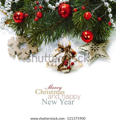 Bright christmas composition with wooden decorations (with easy removable sample text) - stock photo