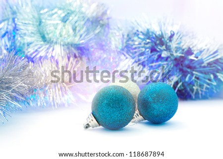 bright Christmas decorations and tinsel for home decorating - stock photo