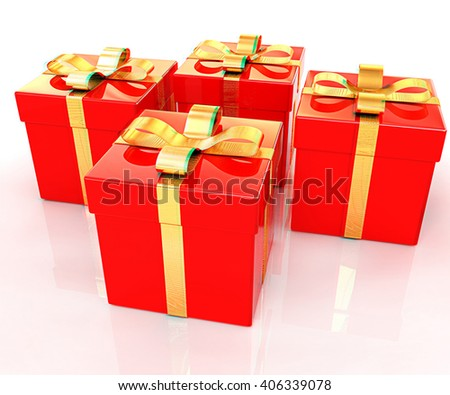 Bright christmas gifts on a white background . 3D illustration. Anaglyph. View with red/cyan glasses to see in 3D. - stock photo