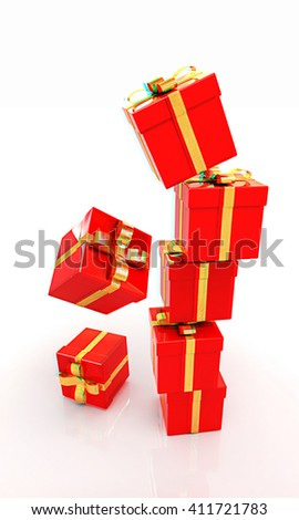 Bright christmas gifts on a white background . 3D illustration. Anaglyph. View with red/cyan glasses to see in 3D.