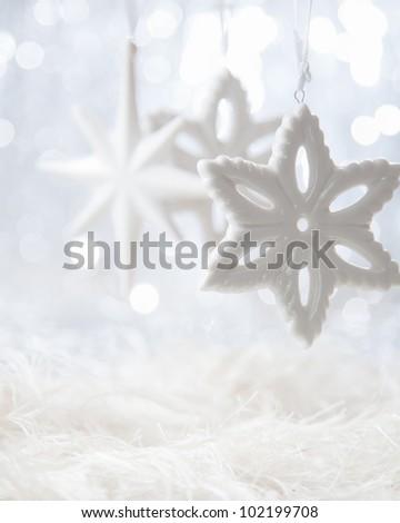 Bright Christmas stars on white boket background - stock photo