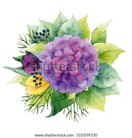 Bright circle floral composition with hydrangea and tulips. Watercolor illustration - stock photo