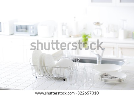 Bright, clean kitchen - stock photo
