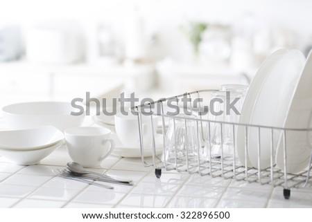 Bright, clean kitchen - stock photo