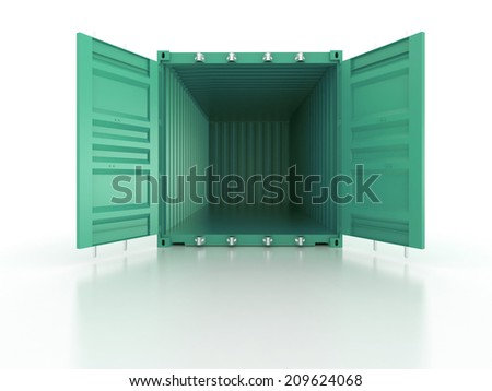 Bright clean metal and opened shipping container on white background - photorealistic 3d render - stock photo