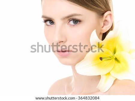 bright closeup beautiful woman with lily