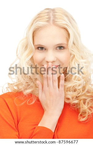 bright closeup picture of beautiful laughing woman
