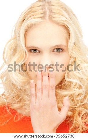 bright closeup picture of beautiful laughing woman - stock photo
