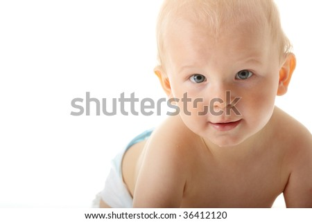 Bright closeup portrait of adorable baby isolated - stock photo