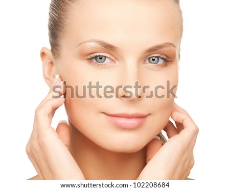 bright closeup portrait picture of beautiful woman - stock photo