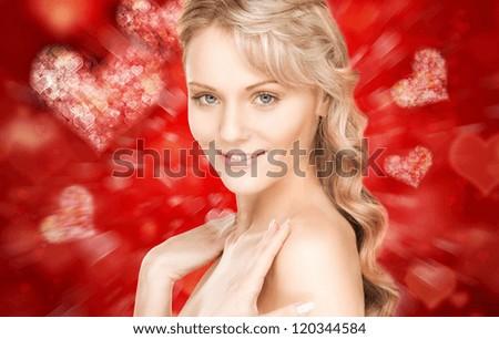 bright closeup portrait picture of beautiful woman. - stock photo