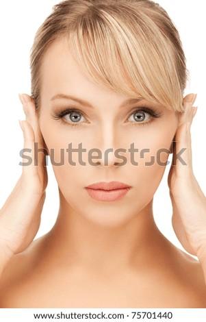 bright closeup portrait picture of beautiful woman - stock photo