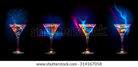 Bright  cocktails in glasses   isolated on the black - stock photo