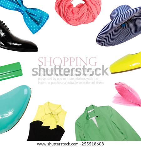 bright collage collection of summer clothes - stock photo