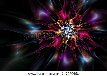 Bright color fantasy artistic flower on black with lighting effect. Beautiful abstract background for wallpaper desktop, poster, cover, booklet, flyer. Fractal  artwork for creative design. - stock photo