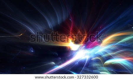 Bright color glowing lines. Festive Christmas background with light trails blurred effect. Shiny template. Abstract fantasy pattern for creative graphic design. Fractal art - stock photo
