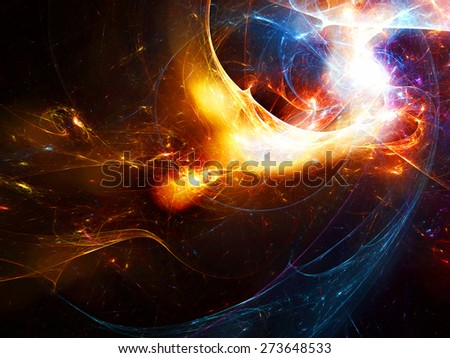 Bright color glowing smoke. Abstract futuristic background with lighting effect for creative graphic design. Shiny template for wallpaper desktop, poster, cover booklet, flyer. Fractal artwork